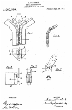 1913 Zipper Patent, by Gideon Sundback