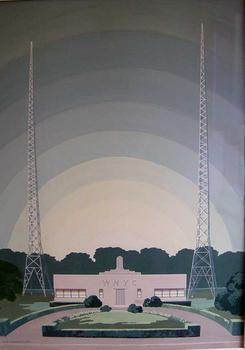 Rendering by Allan Gordon Lorimer of WNYC's Greenpoint Transmitter in 1937