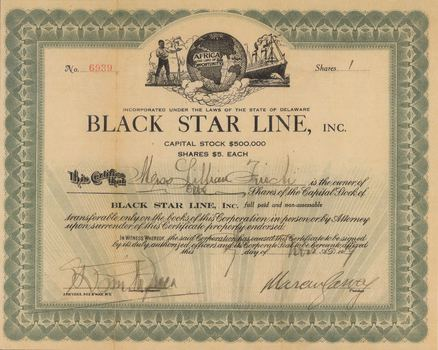 Stock certificate for one share of Marcus Garvey's Black Star Line steamship company from 1919.
