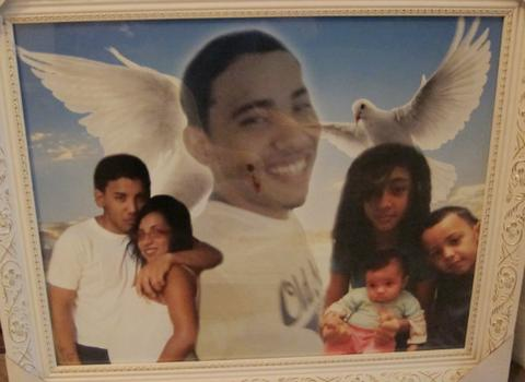 A tribute photograph of Jorge with his family