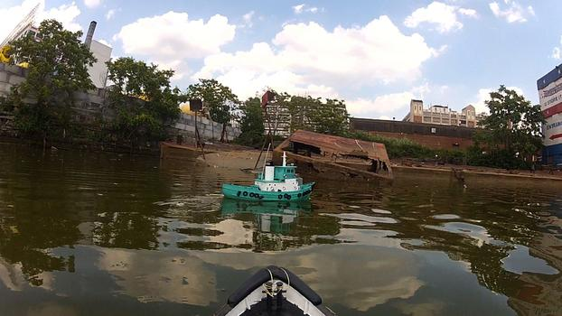 A view from the water, of the remote-controlled boats patrolling the creek with video cameras.