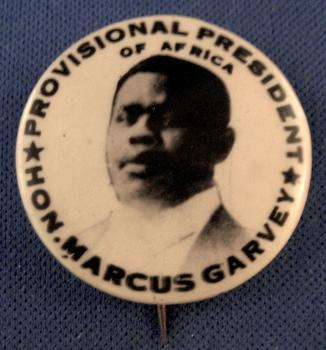 Marcus Garvey button from early 1920s