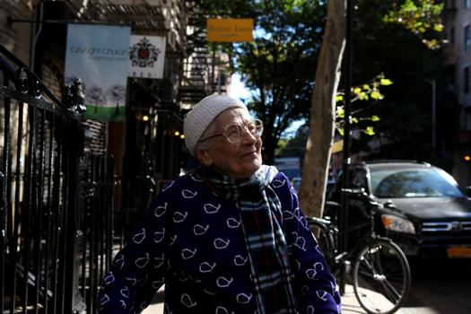 Stephanie, 94, is originally from Poland. She doesn't speak English but has lived in the East Village for a long time.