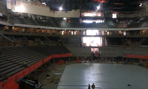 Inside the arena during construction in July 2012.