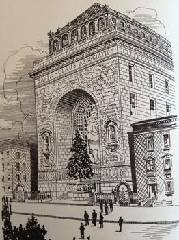 Rendering of the Midtown Manhattan headquarters of the Santa Claus Association that Gluck intended to build.