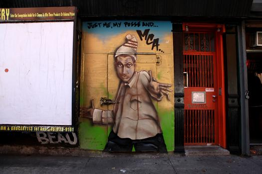 A mural dedicated to the late-Beastie Boy rapper MCA on East 7th Street in the East Village.