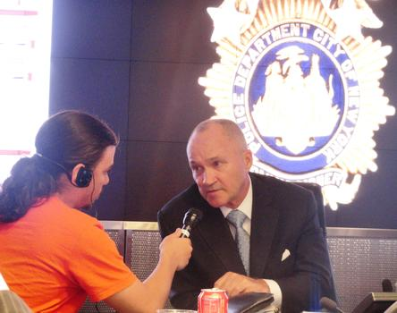 Radio Rookie Ephraim Fromer interviewing Commissioner Kelly at Police Headquarters