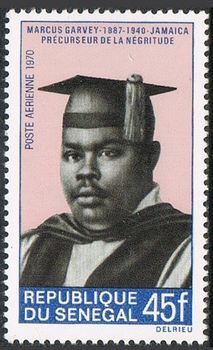 Stamp honoring Marcus Garvey from Senegal in 1970