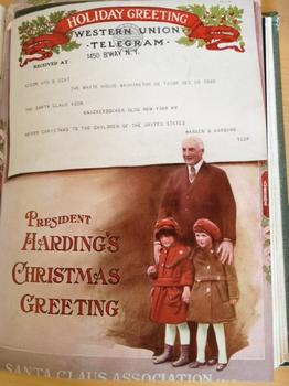President Harding sent Christmas wishes to the Association by telegram.