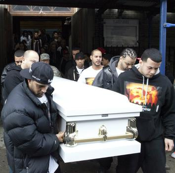 Pallbearers carry Jorge's coffin after his funeral mass at St. Joseph Patron of the Universal Church in Bushwick