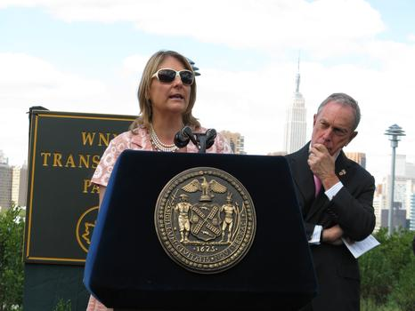 Laura Walker and Mayor Bloomberg at opening ceremony for WNYC Transmitter Park
