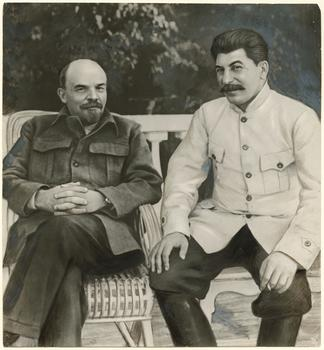 Unidentified Russian artist. Lenin and Stalin in Gorki in 1922