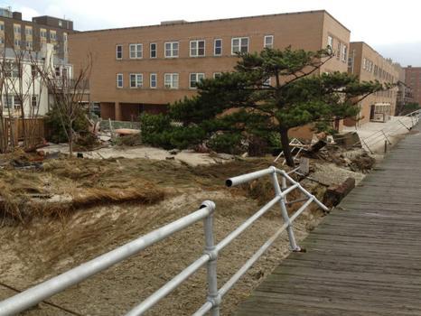 Broken railings along the boardwalk in Long Beach, NY, following Hurricane Sandy.