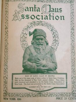 "Cover of the 1916 Santa Claus Association yearbook, which shows a statue ""made of the paper pulp of letters written to Santa Claus."""