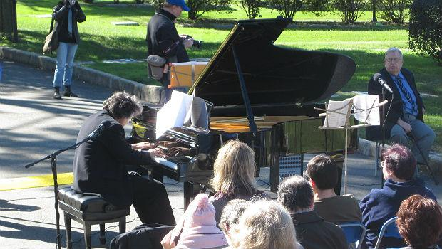 Pianist John Davis performs the music of Gottschalk at a ceremony in Green-Wood Cemetery