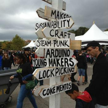 As the signs make clear, Maker Faire has something for everyone, from Arduino's open-source electronics to steampunk's mash-up of vintage and science fiction style.