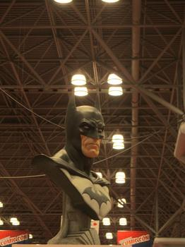 A bust of Batman presides over the convention.