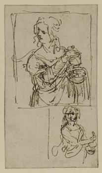 Leonardo da Vinci (1452–1519). Studies for Saint Mary Magdalene, c. 1480–82