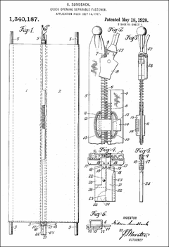1920 Zipper Patent, by Gideon Sundback