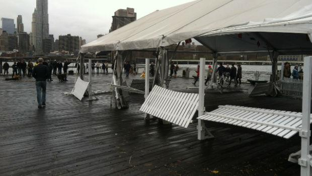 An outdoor restaurant at Fulton Ferry Landing was battered by Hurricane Sandy