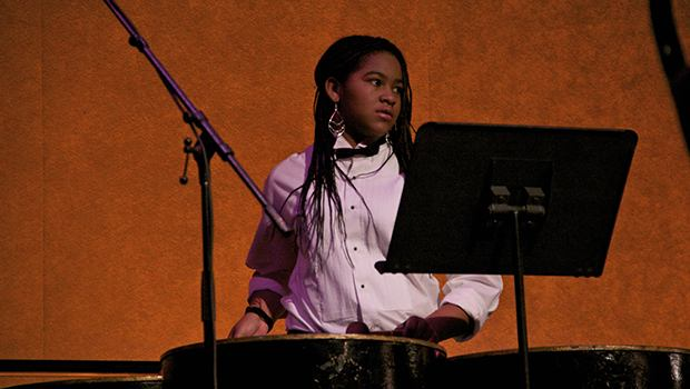 A member of the Pan Sonatas Steel Orchestra.