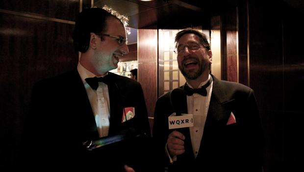 WQXR's assistant producer Aaron Dalton and host Jeff Spurgeon at the Carnegie Hall season opener gala.