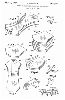 1937 Zipper Patent, by Gideon Sundback