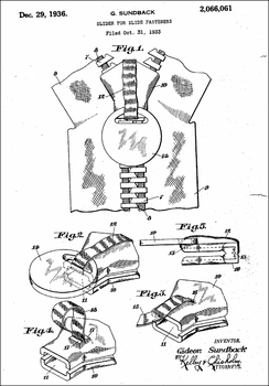 1936 Zipper Patent, by Gideon Sundback