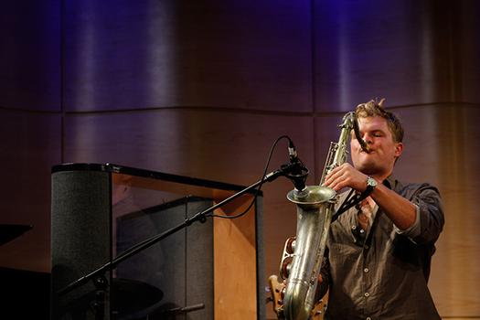 Grizzly Bear bassist Chris Taylor picks up the sax at WNYC's Greene Space.