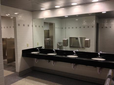 The bathrooms got refurbished, as well.  They were last updated in the 1980s.