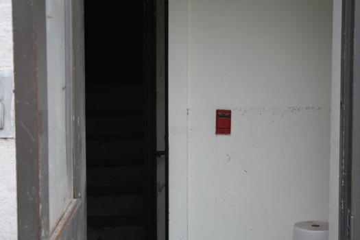 Water flooded several buildings, including this one where the waterline was right by the red switch.