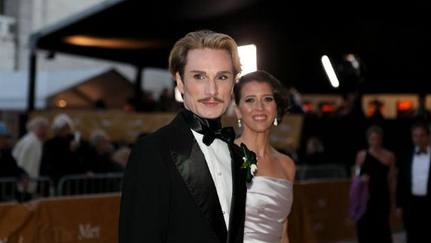 Fashion designer Austin Scarlett and soprano Lisette Oropesa arrive at the Metropolitan Opera on opening night