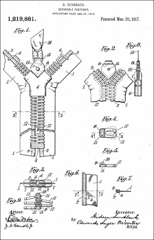 1917 Zipper Patent, by Gideon Sundback