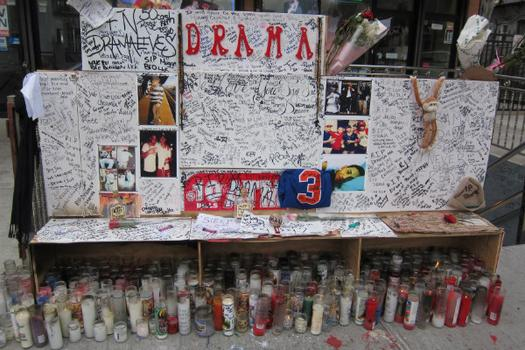 Elaborate street memorial Jorge's firends erected for him in the exact spot on Wycoff Avenue where he was shot.