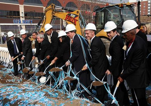 On March 11, 201, several people, including Mayor Michael Bloomberg, attend the groundbreaking for Barclays Center.