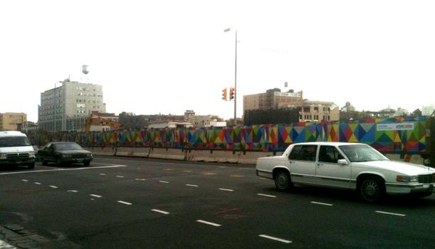 "Mauricio Lopez's ""Color Mesh""  surrounds construction site in Brooklyn."