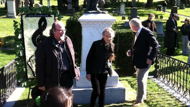 Sculptors Giancarlo Biagi and Jill Burkee with Green-Wood Cemetary President Richard J. Moylan