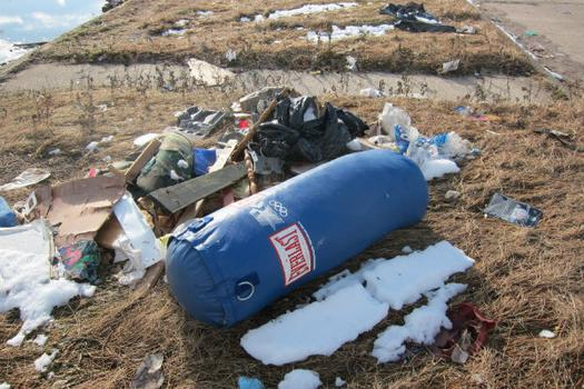 A  marooned punching bag at the dump.
