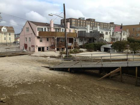 A view of a boardwalk ramp post-Sandy, on 10/30.
