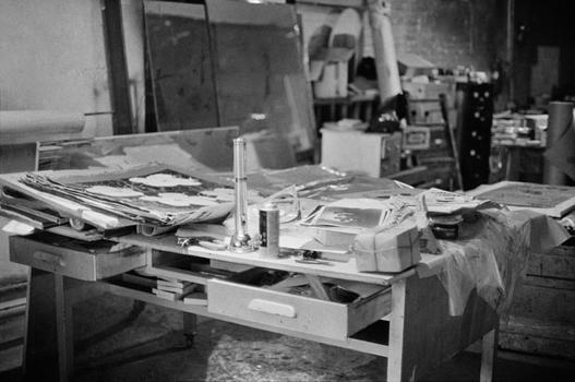 Andy Warhol's desk at the Silver Factory, 1966.