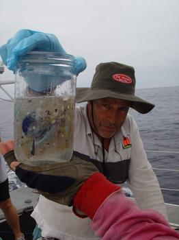 Captain Moore showing plastic sample.