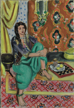 Henri Matisse. <em>Seated Odalisque, Left Knee Bent, Ornamental Background and Checkerboard</em>, 1928.