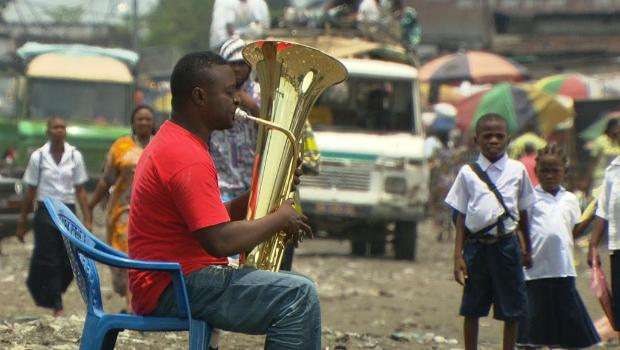 Tuba player Papy Nkituzeyi.