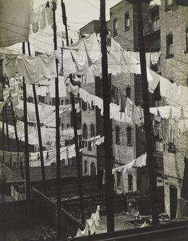 The Photo League photographers on view at the Jewish Museum chronicled the reality of everyday life, while playing with abstraction -- as seen in Consuelo Kanaga's 'Untitled (Tenements, New York).'
