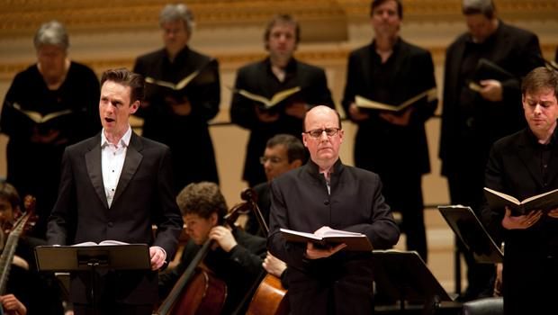 Tenor Ian Bostridge (left) as the Evangelist.