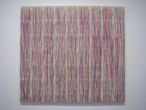 Styling Threads: An embroidery on canvas by Ghada Amer -- titled 'The Waterfall' (2010) -- at Cheim & Reid.