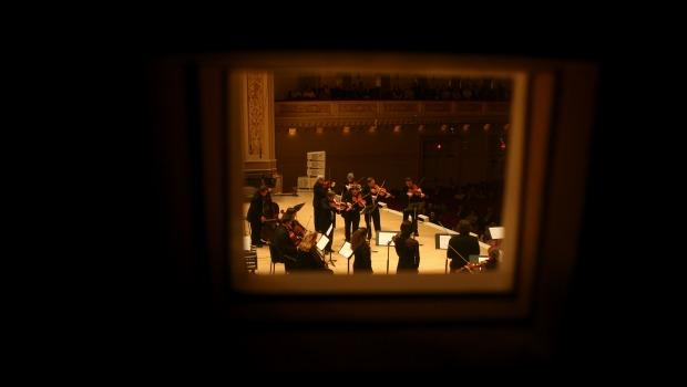 A view from the 'Maestro Suite' high above the Carnegie Hall stage
