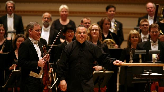 Stefan Sanderling, center, principal conductor with the Toledo Symphony at Carnegie Hall.