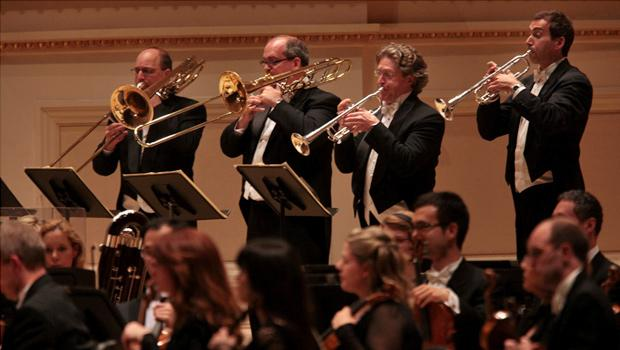 Members of the brass section of the Montréal Symphony Orchestra
