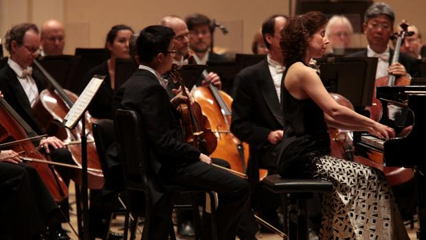 Members of the string section of the Montréal Symphony Orchestra